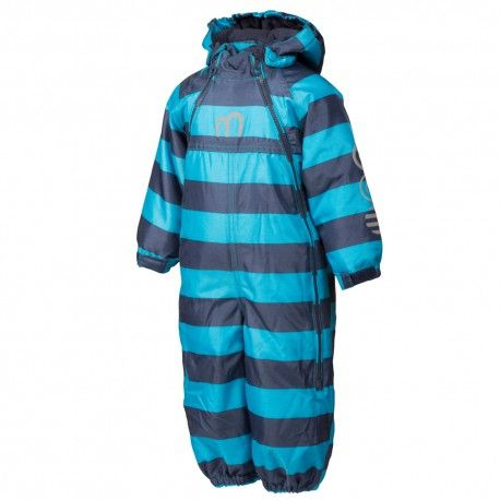 Snowsuit with two zippers, turquoise sea striped, Minymo