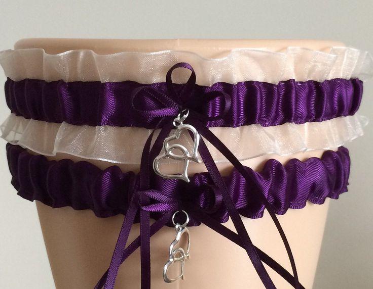 Purple Plum And White Organza Wedding Garter Set Bridal Garter Sets Wedding Garter Set