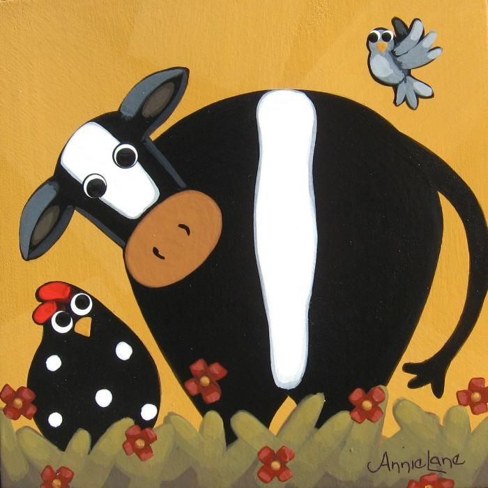 """ Mornin Gossip "" Whimsical Cow and Chicken Painting, Whimsical Art by Annie Lane"