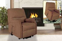 This Brown Fabric Power Lift Recliner | Morning Furniture