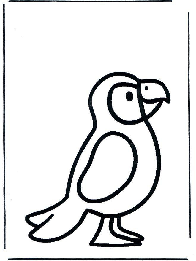 Papegaai kleurplaat