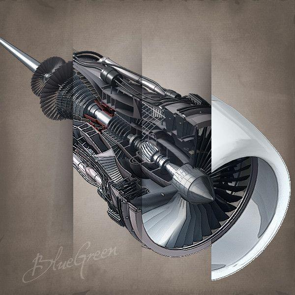 3ds max jet engine cutaway cuts - Jet Engine Cutaway by BlueGreen