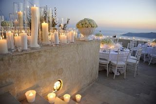 Candles to add a modern touch to a romantic beach wedding. All white to keep it classy. See more ideas at http://thebestweddingblogever.blogspot.com/