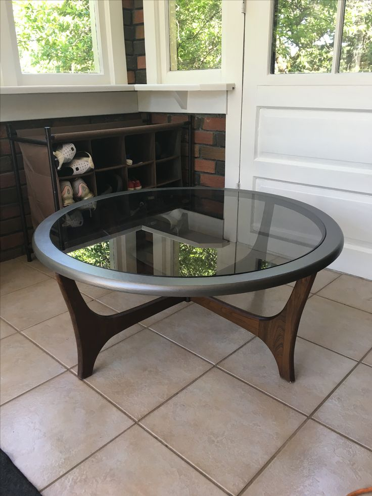 Two-tone Metallic Teak Coffee Table refinished with smoky ...