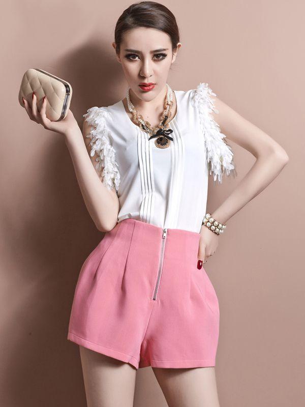 Zipper Fly High Waist Ruffles Straight Shorts : KissChic.com