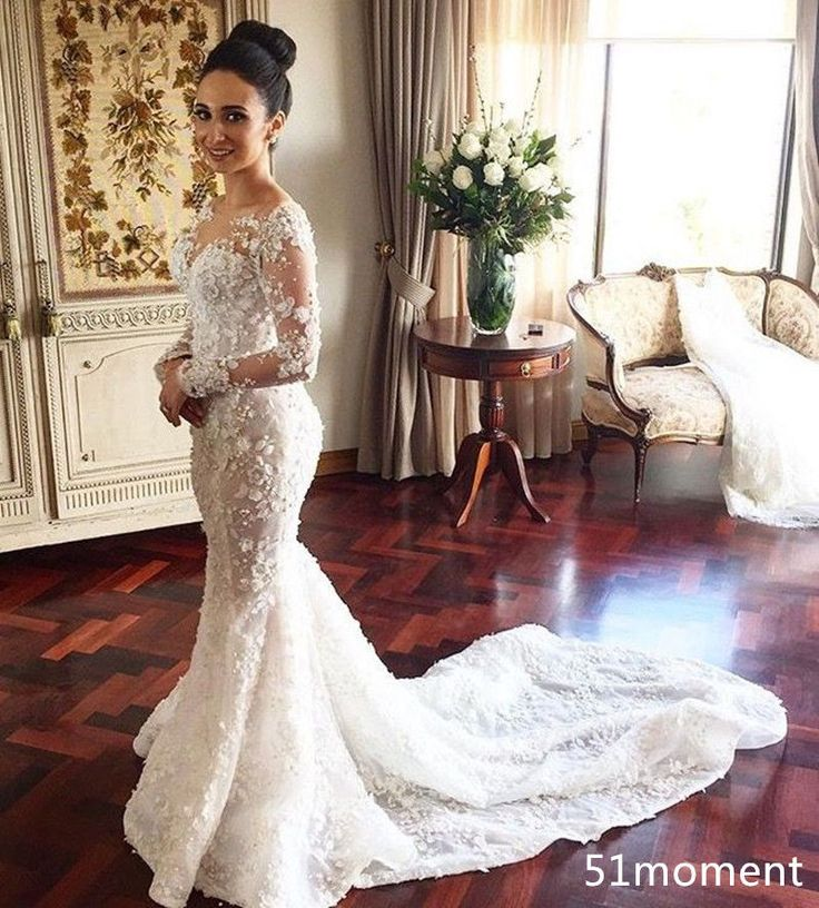 Trending  Sexy Mermaid Wedding Dresses Sheer Long Sleeve Chapel Train Bridal Gowns in Clothing Shoes