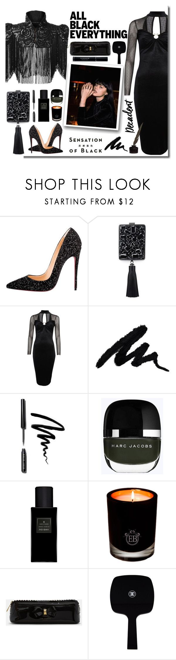 """All-Black Everything"" by johannamaria37 ❤ liked on Polyvore featuring Christian Louboutin, Tory Burch, TFNC, Vision, Bobbi Brown Cosmetics, Yves Saint Laurent, EB Florals, Ted Baker, Chanel and Christian Dior"