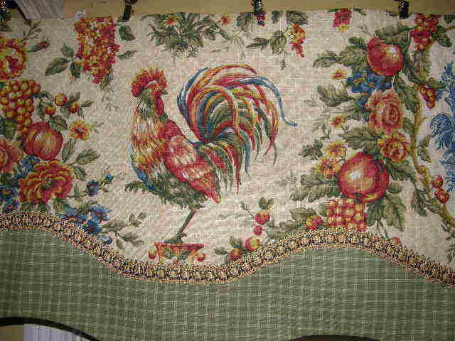 Nice French Country VALANCE Curtain Waverly Cream Rooster Toile Sage Check Lined  Trim