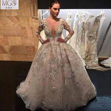 2016 MGS роскошью прекрасный бальное платье глубокий v-образным вырезом аппликация длинные рукава блестками пола свадебные платья свадебное платье(China (Mainland))
