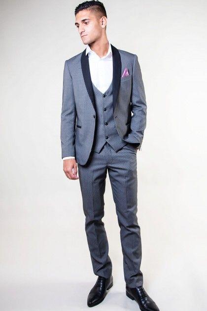SAM - Grey Diamond Print Tux Lapel Three Piece Suit