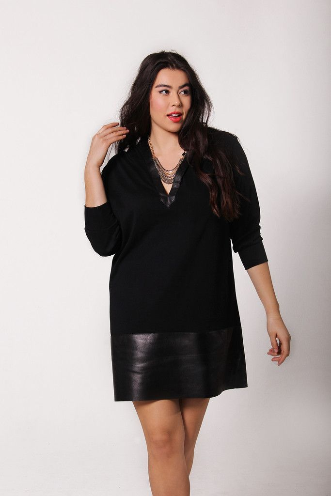 Leather Trim Hoodie Dress