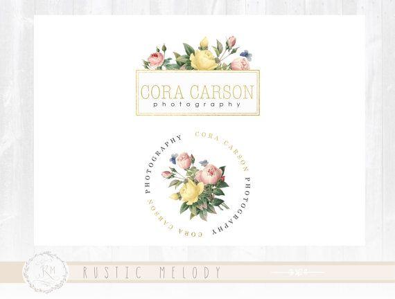 Vintage Flower Logo Photography Logo Design Wedding Logo Boutique Logo Events Logo Decor Logo Design Floral Logo Watermark