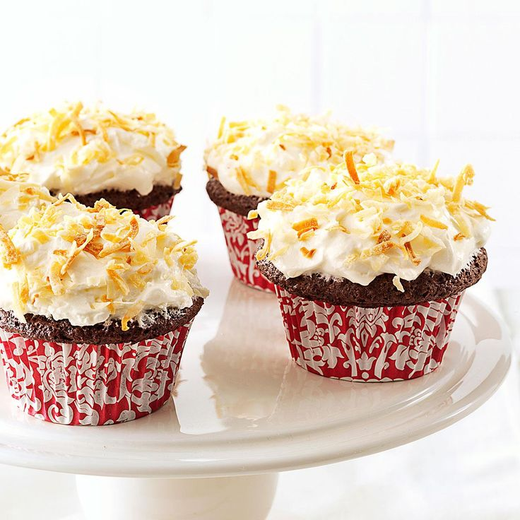 Chocolate Angel Cupcakes with Coconut Cream Frosting Recipe -Sweeten any meal with these fun, frosted chocolate cupcakes that take just minutes to make. The finger-licking flavor packs far fewer calories and fat than traditional desserts! —Mandy Rivers, Lexington, South Carolina