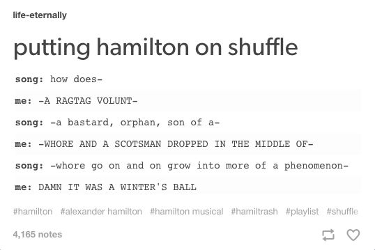 It's impossible to tell whether it's Alexander Hamilton, A Winters Ball, or Guns and Ships