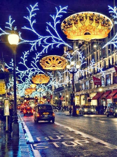 Regent Street in Christmas, London:
