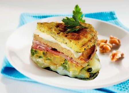 Ricetta Torta di frittate sfiziosa. In Uova e Frittate. Ingredienti per 6 persone: 8 uova. 1 patata piccola tagliata a dadini. 2 cucchiai piselli in scatola. 125 g mozzarella tagliata a fette. 100 g s