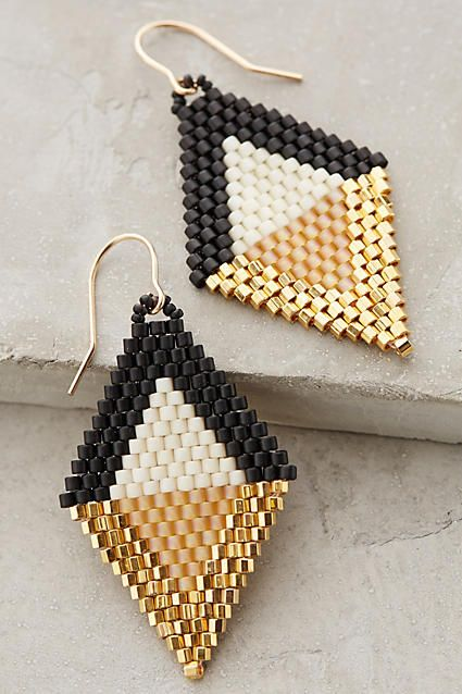Beaded Diamante Drops. Brick Stitch Earrings, handmade in Ghana. I could easily make these earrings :)