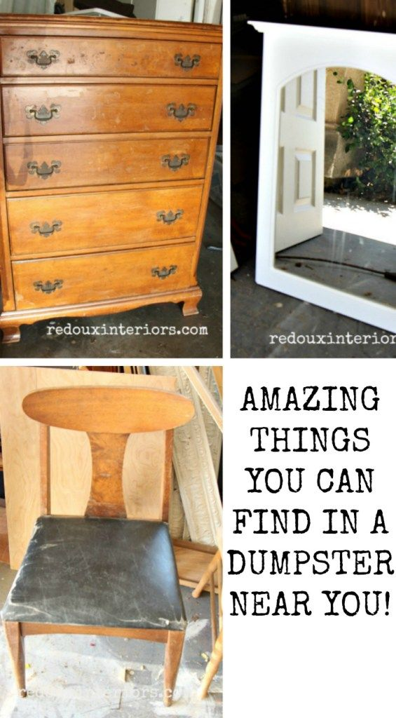 Amazing things you can find in a dumpster.  Check out how easy it is to explore your local Dumpsters and find amazing furniture and Decor, for FREE REDOUXINTERIORS.COM FACEBOOK: REDOUX INSTAGRAM: REDOUXINTERIORS
