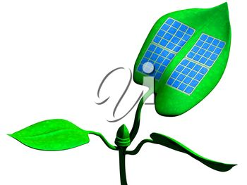 iCLIPART - Clip Art Illustration of a solar panel attached to a green leaf