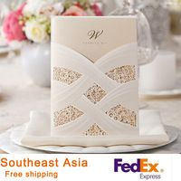 Wedding Invitations White  Red Vertical Laser Cutting Bronzing Wedding Invitation Cards With Lace Hot Stamping 100pcs/lot HQ1035