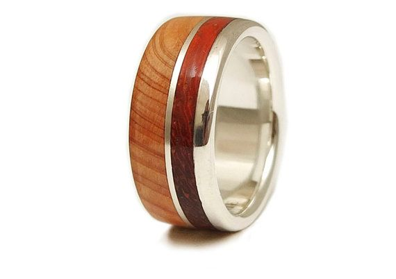 Juniper Wood, Coral Wood and Silver Sterling Ring