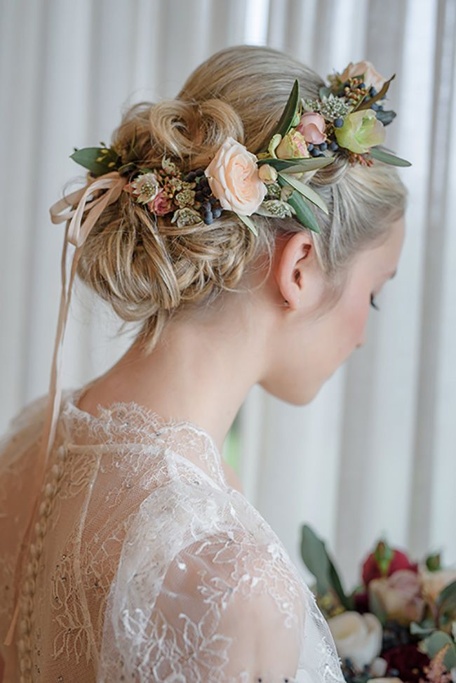 Wonderful pastel flower crown with some fab foliage. Pretty updo. Boho bride Summer wedding. Trowbridge, Wiltshire.We stock a wonderful selection of designer wedding dresses and run a closed door policy to provide you with the ultimate shopping experience.Find your dream dress here with us. www.devlinbridalcouture.co.uk xx