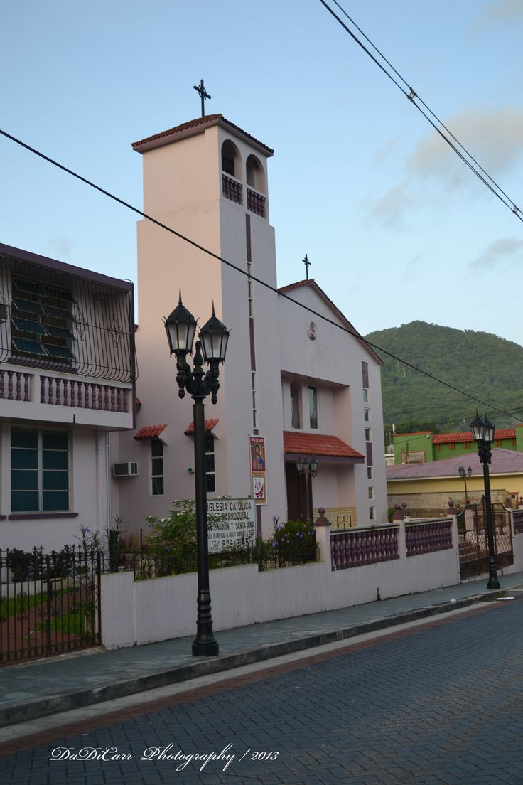 Old Catholic Church in the Plaza Square in Adjuntas, Puerto Rico. This Church dates from de lat 20' and is still in use.