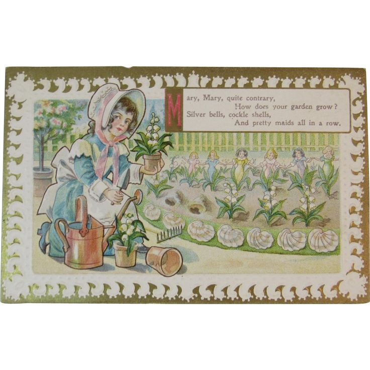 Mary Mary Quite Contrary Postcard Nursery Rhyme Embossed