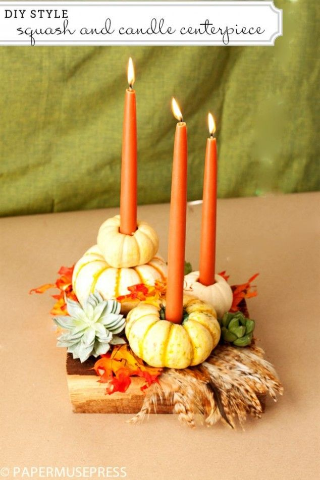 Diy taper candle 20 decorative diy thanksgiving candles for Simple pumpkin centerpieces
