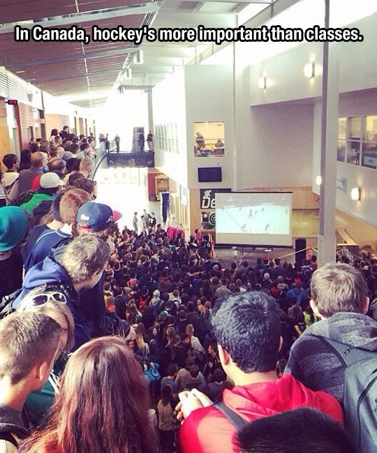 This happens at my school all of the time. I love Canada!