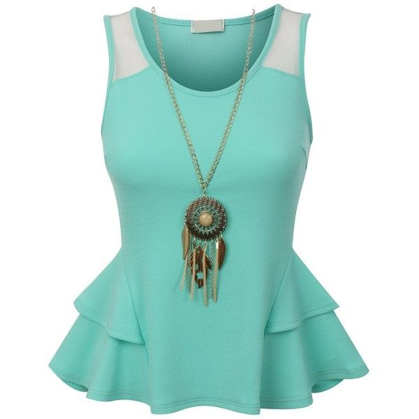 RubyK Womens Fitted Sleeveless Peplum Tank Top with Detachable... ($12) ❤ liked on Polyvore featuring tops, shirts, tank tops, no sleeve shirts, blue shirt, blue tank top, peplum tops and sleeveless shirts