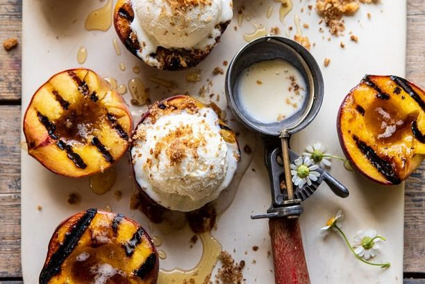 Browned Butter Grilled Peaches With Cinnamon Toast Brioche
