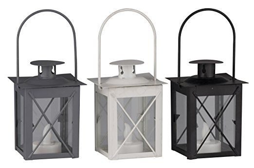 Metal Lantern Candle Holder with Battery Powered Tea Lights in Choice of Deals (Single White)