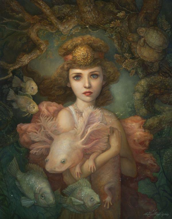 NAIADES = ( MYTHOLOGIE GRECQUE) Elles étaient des nymphes aquatiques vivant dans les eaux douces (rivières, sources, fontaines..) Elles passaient pour les filles de Zeus, des dieux fleuves ou de l'Océan. (Illustration : ANNIE STEGG - Lilaia the naiad daughters of Oceanus)