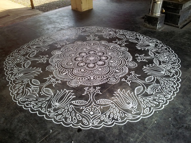 "Temple kolam by Sethulakshmi Ranganathan. ""Each kolam is a piece of art – a poem in itself."""