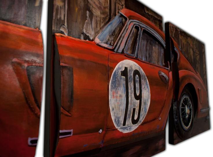 CUADROS FERRARI A & B & C. Acrílicos sobre metal con carrocería del Ferrari en relieve. Conforman un cuadro fraccionado en 3. Medidas: 80 x 8,5 x 80 cm/cuadro. Peso: 8,5 kgs/cuadro.