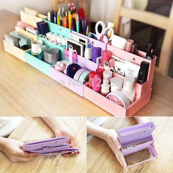 3 unids envío gratis DIY plegable de cartón de papel maquillaje cosmético del almacenaje del organizador caja turística Decor hJ9af(China (Mainland))