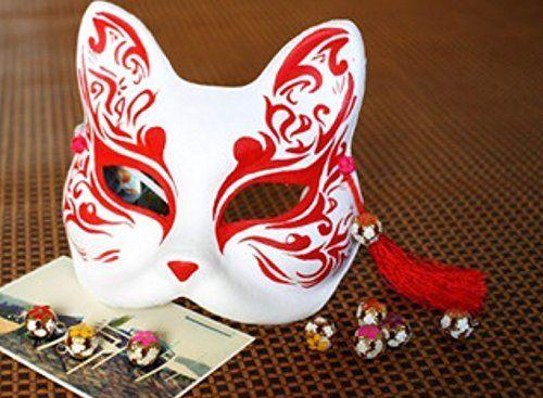 コスプレ小物・道具・手作り・狐のお面(きつねのおめん 赤) 覆面 / マスク / 仮面