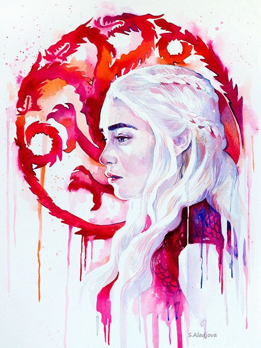Daenerys Targaryen 2 game of thrones watercolor por SlaviART