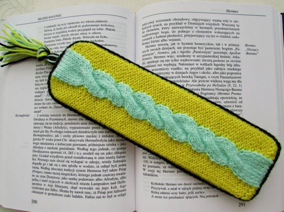 Unique Bookmark Yellow Green Bookmark Knitted by MyRainbowColors
