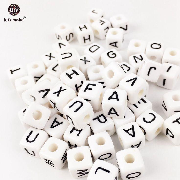 Let's Make Acrylic Letters 200PC Children Early Education Alphabet White Size Of 1cm Beads  Handmade DIY Bracelet Plastic Beads