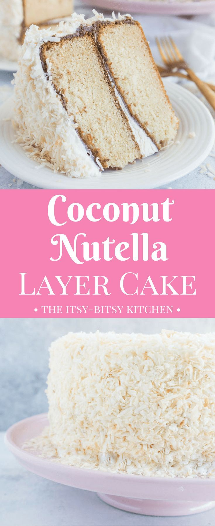 This coconut Nutella layer cake features two layers of moist coconut cake topped with Nutella, coconut buttercream, and toasted coconut. If you love chocolate and coconut then you'll adore this cake! recipe via itsybitsykitchen.com #layercake #Nutella #coconutcake