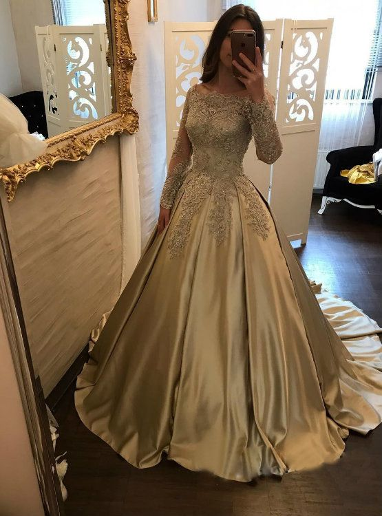 3ffbff1f3d Classic Boat Neck Lace Corset Satin Ball Gown Wedding Dress Bridal Gowns  Long Sleeves