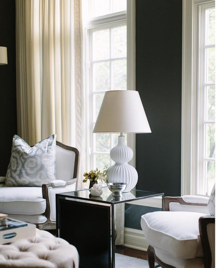 Heres a stunner from @ellcedesigns the contrast is  And a fun neutral table lamp is always the ticket. We found a similar style for half the price!  http://ift.tt/2pTZB8q #CopyCatChic