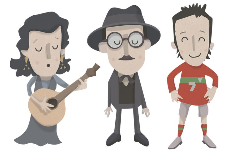 Illustrations of Amalia Rodrigues, Fernando Pessoa and Cristiano Ronaldo by Philip Kennedy (2013)