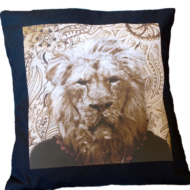 Asian Indian Lion Small Cushion Cover - Folksy | Craft Juice