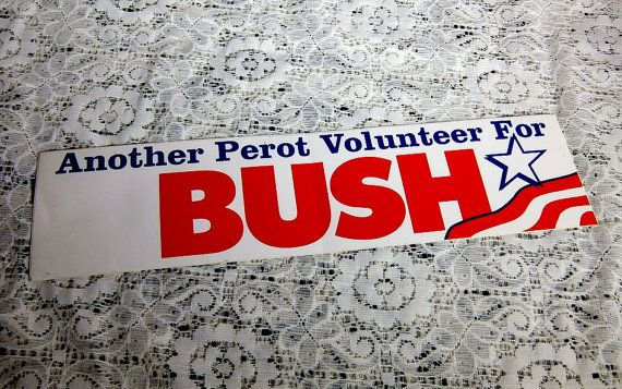 #Vintage #1992 #RossPerot #GeorgeBush Presidential #Election Bumper #Sticker ~ #Etsy #CuriousDiversions