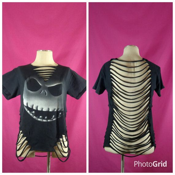 Hey, I found this really awesome Etsy listing at https://www.etsy.com/listing/460932542/halloween-shredded-shirt-upcycled-jack