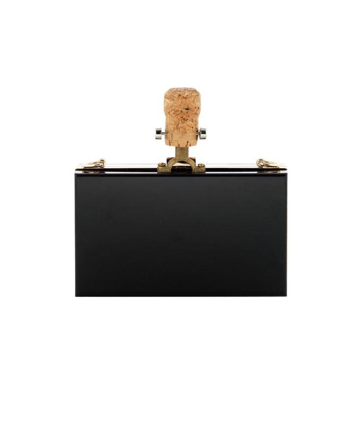 "CECILIA MA ""Drink Me"" black plexiglas clutch bag hand painted front decoration cork applications gold steel trim removable brass shoulder strap  top latch closure Size: 18x11x5,5 cm"