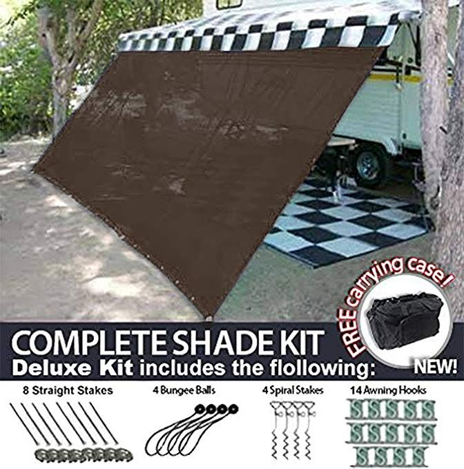 Rv Awning Shade Motorhome Patio Sun Screen Complete Deluxe Kit Brown 8x16 Review Awning Shade Trailer Awning Awning
